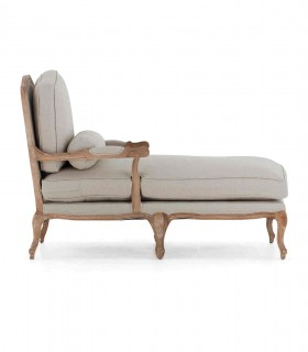 Chaise lounge roble blanqueado y lino